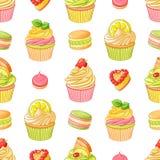 Divers desserts colorés lumineux de fruit Modèle sans couture de vecteur sur le fond blanc Images libres de droits