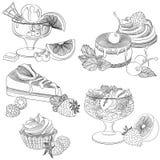 Divers desserts de fruit de schéma Photo stock