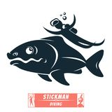 Divers divers and fish under water royalty free illustration