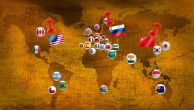 Divers drapeaux sur une carte stylisée du monde Image libre de droits