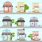 Divers ensemble de Front Building Background Illustration Design de magasin illustration libre de droits