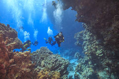 Divers explore cave's Royalty Free Stock Photo