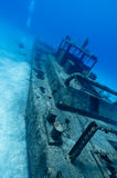 Divers explores a wreck royalty free stock images