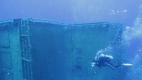 Divers exploring Zenobia shipwreck stock video