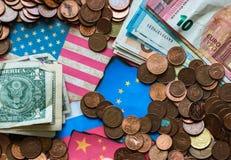 Divers fond de devises d'argent Photographie stock libre de droits