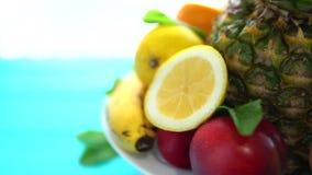 Divers fruits frais servis d'un plat tournant banque de vidéos