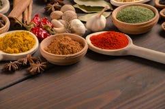 Divers genres d'épices sur la table en bois Photos libres de droits