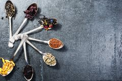 Divers genres de thé dans des cuillères sur le fond foncé d'ardoise Assortiment sec de thé image stock