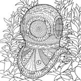 Divers helmet in coloring pages for adults. Stock Images