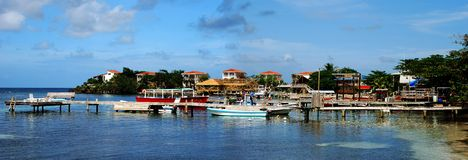 Divers' Honduras. Panoramic view of West End village on Roatan island - divers' paradise in Honduras royalty free stock photo