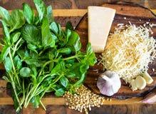 Divers ingrédients pour la sauce à pesto à bord image stock