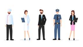 Divers jeu de caractères de profession d'homme et de femme illustration stock