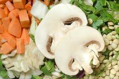 Divers l?gumes coup?s, carotte, chou, laitue, lentilles, champignon images stock