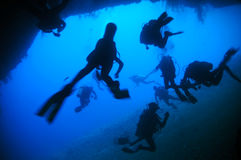 Divers mess. A divers mess in an underwater cave royalty free stock images