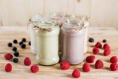 Divers milkshakes frais de baie dans des pots en verre images stock