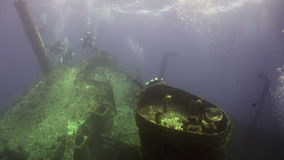 Divers near wreck ship underwater on coral reef Abu Nuhas in Red sea. Swimming in world of colorful beautiful wildlife of reefs and algae. Inhabitants in stock footage