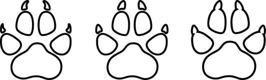 Divers pattes de chien, chiens et label d'autocollants de patte illustration libre de droits