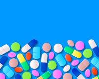 Divers pilules, comprimés et capsules sur le fond bleu illustration de vecteur