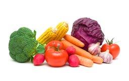 Divers plan rapproché de légumes d'isolement sur le fond blanc Photographie stock