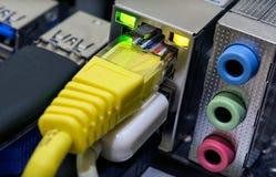 Divers ports de mise en réseau pour des connexions sur un PC photo stock
