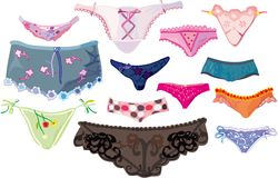 Divers positionnement mignon de lingerie Photographie stock