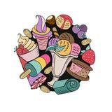 Divers roomijs met fruit, noten en bovenste laagje Getrokken hand Stock Foto's