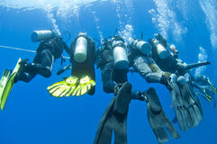 Divers on a rope underwater. Group of scuba divers decompressing on a rope underwater Royalty Free Stock Photography