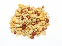 Divers soort noten op een witte achtergrond Stock Foto's