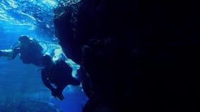 Divers Swim Around Large Rock stock video
