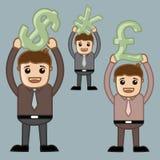 Divers symboles monétaire - bureau et gens d'affaires de personnage de dessin animé de vecteur de concept d'illustration Image libre de droits