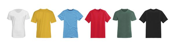 Divers T-shirts d'isolement sur le blanc photos libres de droits