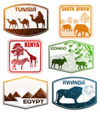 Divers timbres de pays africains Images stock