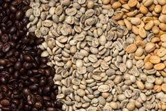 Divers type van arabica koffie geroosterde veelvoudige kleuren royalty-vrije stock foto