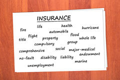 Divers types d'assurance Images stock