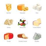 Divers types de fromage dans le style de vecteur de bande dessinée Photo libre de droits