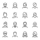 Divers types ligne mince ensemble de visage de noir de signes d'icône Vecteur illustration de vecteur