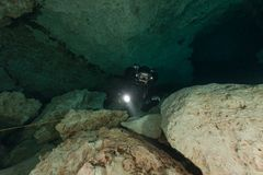 Divers underwater caves diving Florida Jackson Blue cave USA Stock Images
