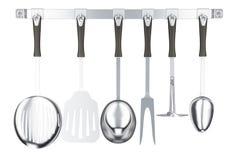 Divers ustensiles de cuisine sur une bande de crochet de cuisine, rendu 3D Images stock