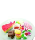 Divers van dessert op witte achtergrond Stock Afbeeldingen
