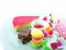 Divers van dessert op witte achtergrond Stock Foto