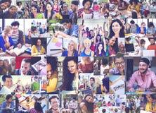 Divers van Start mensenstudenten Collageconcept Stock Foto's