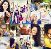 Divers van Start mensenstudenten Collageconcept royalty-vrije stock afbeeldingen