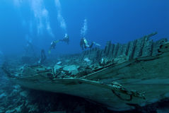 Divers on a wreck. In the Red Sea Royalty Free Stock Photography