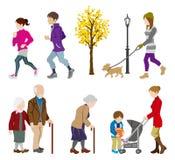 Diversa actividad de la gente en otoño Foto de archivo libre de regalías