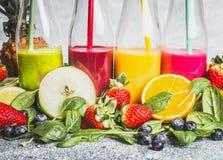 Diversa bebida colorida en botellas con los ingredientes orgánicos frescos Smoothies o jugo sanos con las frutas frescas, las bay Foto de archivo libre de regalías