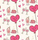 Diversa bebida con el globo rosado del corazón en fondo del kawaii stock de ilustración