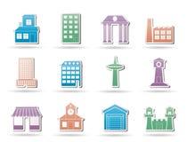 Diversa clase de edificio y de iconos de la ciudad