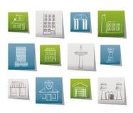 Diversa clase de edificio y de iconos de la ciudad Imagenes de archivo
