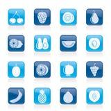 Diversa clase de fruta y de iconos Fotos de archivo