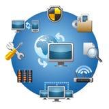 Sistema del icono de la red de ordenadores Imagenes de archivo